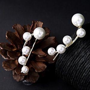 Jewelry - Gold Tone & Faux Pearl Dangle Earrings